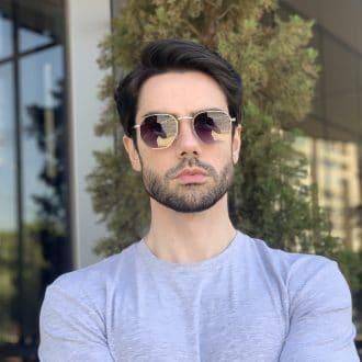 safine com br oculos de sol masculino hexagonal prata 1