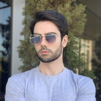 safine com br oculos de sol masculino hexagonal prata