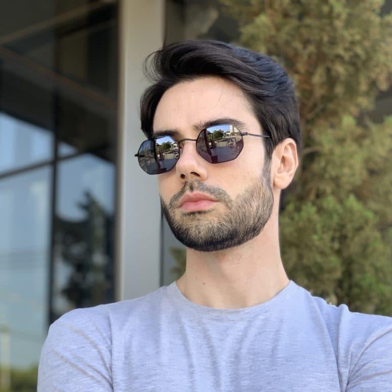 safine com br oculos de sol masculino hexagonal preto bruno