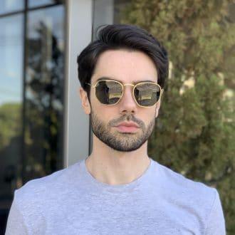 safine com br oculos de sol masculino hexagonal verde 1