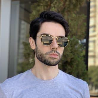 safine com br oculos de sol masculino hexagonal verde 2
