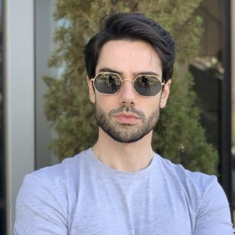 safine com br oculos de sol masculino hexagonal verde bruno 1