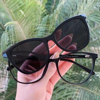 safine com br oculos 2 em 1 clip on gatinho em acetato preto poli