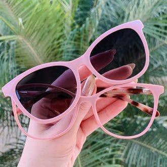 safine com br oculos 2 em 1 clip on gatinho em acetato rosa poli
