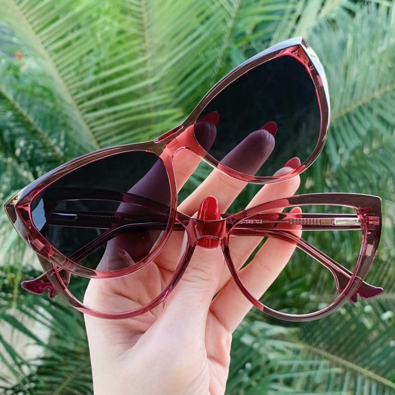 safine com br oculos 2 em 1 clip on gatinho rosa may