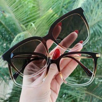 safine com br oculos 2 em 1 clip on quadrado marrom monique