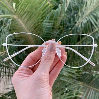 safine com br oculos de grau gatinho de metal branco antonela