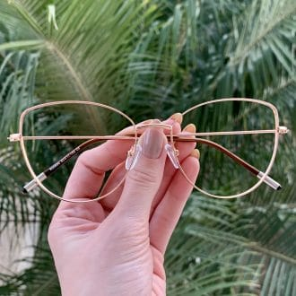 safine com br oculos de grau gatinho de metal dourado antonela