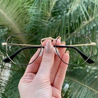 safine com br oculos de grau hexagonal dourado e preto lali