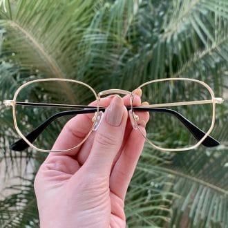 safine com br oculos de grau hexagonal dourado lali