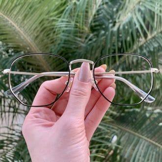 safine com br oculos de grau hexagonal prata e preto lali
