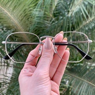 safine com br oculos de grau hexagonal prata lali