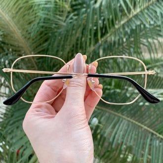 safine com br oculos de grau hexagonal rose lali 1