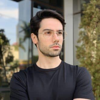 safine com br oculos de grau masculino hexagonal prata 1