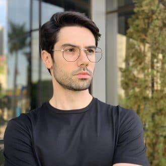 safine com br oculos de grau masculino hexagonal prata com preto 1