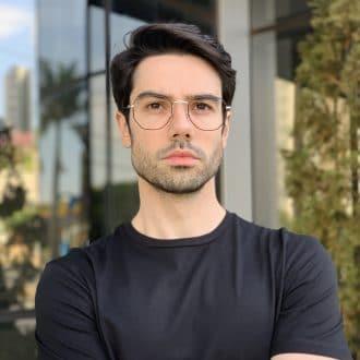 safine com br oculos de grau masculino hexagonal prata com preto 2