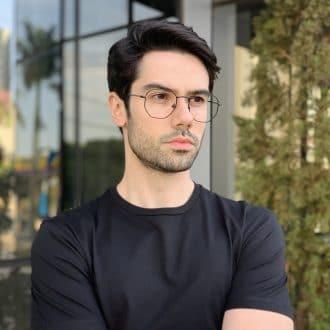 safine com br oculos de grau masculino hexagonal preto 2