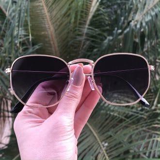 safine com br oculos de sol hexagonal dourado com degrade elisa new 3