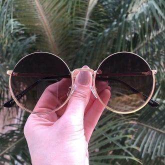 safine com br oculos de sol redondo de metal colorido olivia