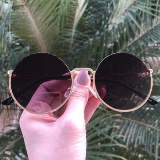 safine com br oculos de sol redondo de metal dourado olivia