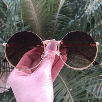 safine com br oculos de sol redondo de metal marrom olivia
