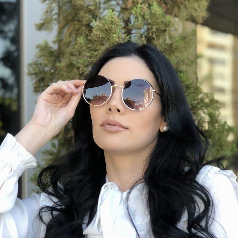 safine com br oculos de sol redondo de metal preto degrade olivia 2