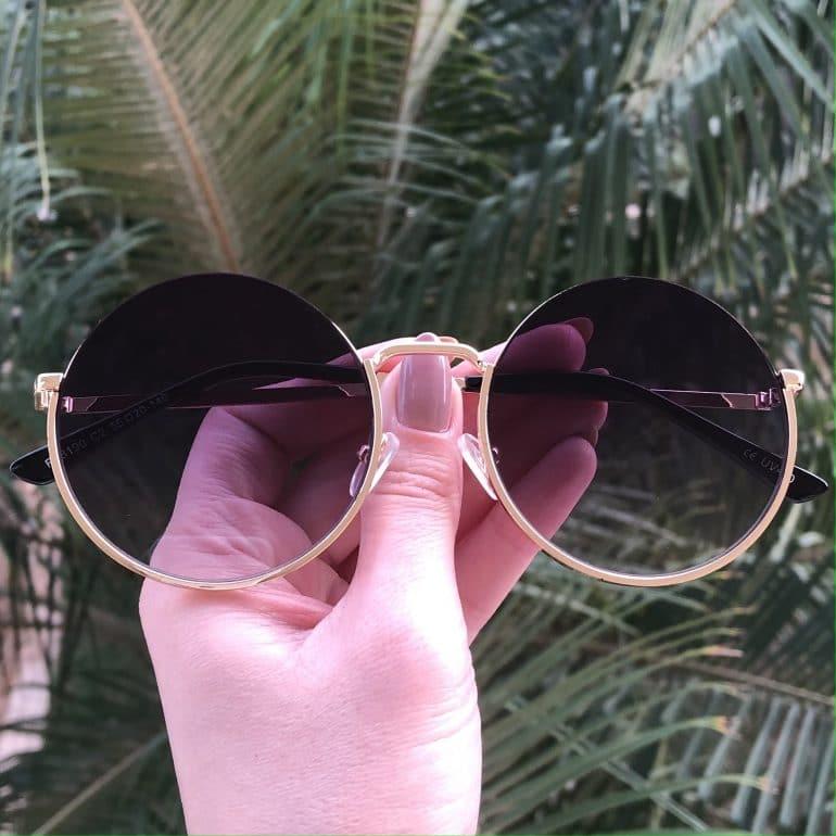 safine com br oculos de sol redondo de metal preto degrade olivia