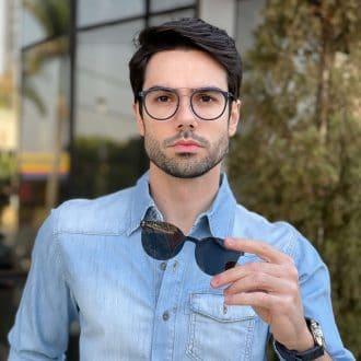 safine com br oculos 2 em 1 clip on masculino redondo azul pedro 2