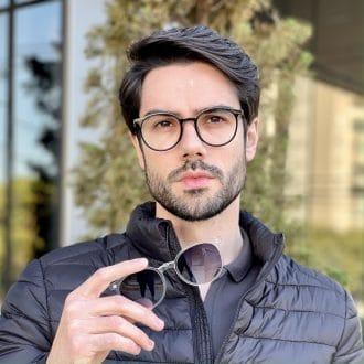 safine com br oculos 2 em 1 clip on masculino redondo preta com transparente joao 1