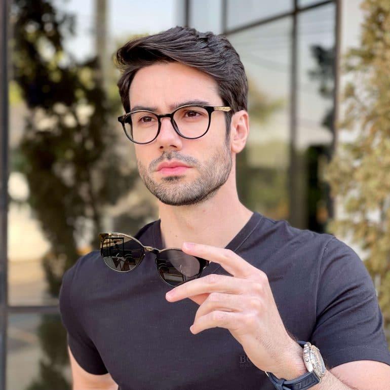 safine com br oculos 2 em 1 clip on masculino redondo preto caio 1
