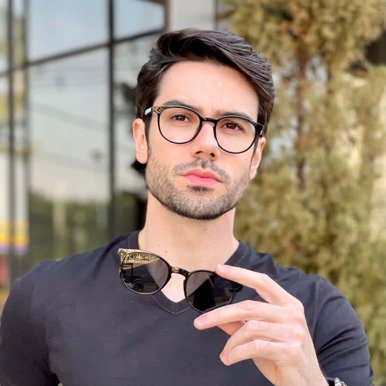 safine com br oculos 2 em 1 clip on masculino redondo preto caio 2