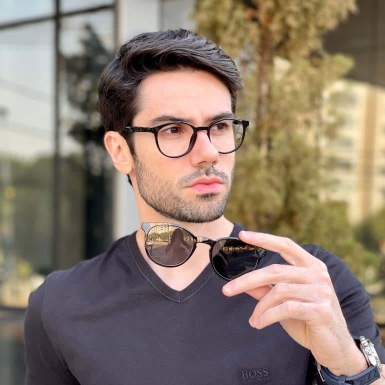 safine com br oculos 2 em 1 clip on masculino redondo preto caio