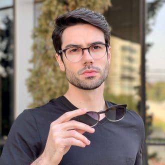 safine com br oculos 2 em 1 clip on masculino redondo preto transparente caio 2