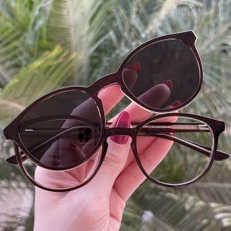 safine com br oculos 2 em 1 clip on redondo marrom alice