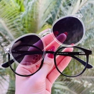 safine com br oculos 2 em 1 clip on redondo preto com transparente melissa