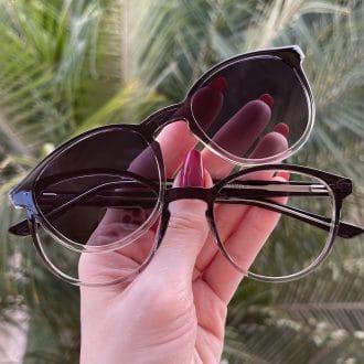 safine com br oculos 2 em 1 clip on redondo preto transparente alice