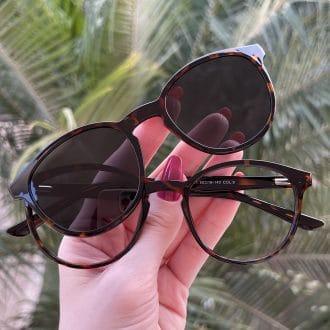 safine com br oculos 2 em 1 clip on redondo tartaruga alice