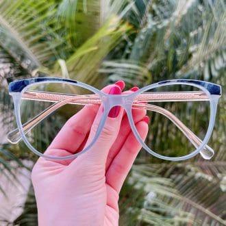 safine com br oculos de grau gatinho azul monise