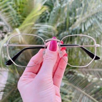 safine com br oculos de grau hexagonal grafite lali