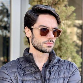 safine com br oculos de sol masculino quadrado marrom leo 2