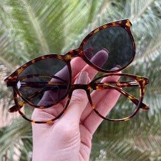safine com br oculos 2 em 1 clip on acetato redondo tartaruga iara 1