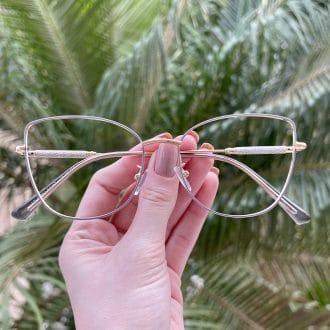 safine com br oculos de grau gatinho de metal azul com dourado malu 1