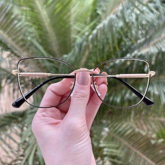 safine com br oculos de grau gatinho de metal preto com dourado malu 1