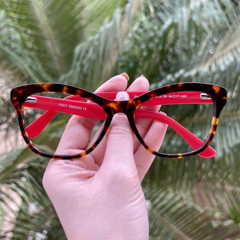 safine com br oculos de grau gatinho em acetato tartaruga com vermelho jolie