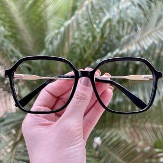 safine com br oculos de grau quadrado em acetato preto giovana