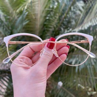 safine com br oculos de grau redondo branco com dourado marina