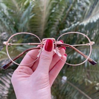 safine com br oculos de grau redondo nude com dourado nina