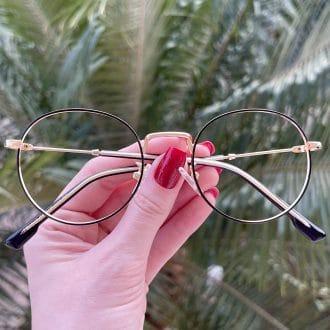 safine com br oculos de grau redondo preto com dourado nina 4