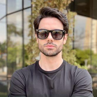 oculos de sol masculino quadrado preto raul