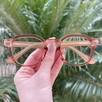 Óculos de Grau Quadrado Rosé Caroline
